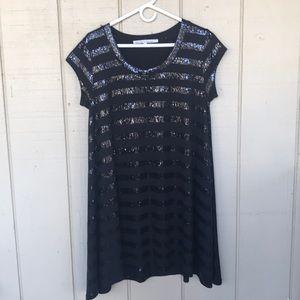 Rachel Roy Black Sequin Midi Dress